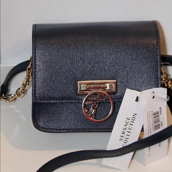ba3269516247 Versace Collection Saffiano Leather Small NAVY BLU